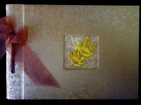 Βιβλίο Ευχών Γάμου -32 - <p>Βιβλίο ευχών γάμου από δερματίνη mosaic bronze και χρυσό κλαδί.</p>...
