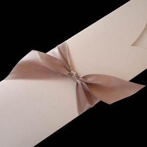 Προσκλητήρια γάμου -Γ1310 - <p>Προσκλητήριο σε χαρτί στο χρώμα της πέρλας και σοκολατί σατέν κορδέλα και εκτύπωση.</p>...