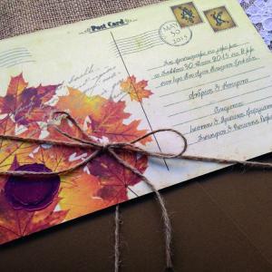 Προσκλητήρια Γάμου Καρτ Ποστάλ -Γ1515 - <p>Ιδιαίτερο προσκλητήριο γάμου carte postale από ανακυκλωμενο χαρτί και δέσιμο από σχοινί.  Tip: Μπορείτε να δημιουργήσετε θεματική ενότητα carte postale με πρόσκληση, μπομπονιέρα, βιβλίο ευχών, ετικέτες κρασιού, χωνάκια κ.ά.</p>...