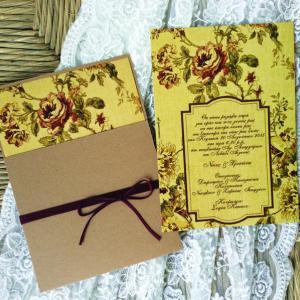 Προσκλητηρια γαμου -Γ1622 - <p>Floral συρταρωτό προσκλητήριο γάμου από οικολογικό χαρτί και ιδιαίτερο δέσιμο...</p>...