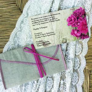 Προσκλητήριο γάμου -Γ1644 - <p>Rustic προσκλητήριο γάμου με λινό φάκελο και σάπιο μήλο αποχρώσεις σε ξύλινο φόντο...</p>...