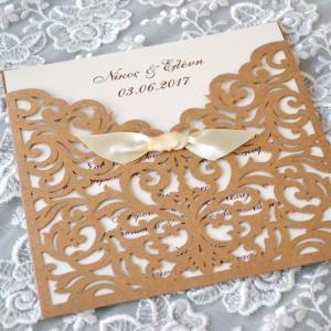 Προσκλητήρια γάμου laser cut -Γ1726 - <p>Ιδιαίτερο προσκλητήριο γάμου laser cut από οικολογικό χαρτί!</p>...