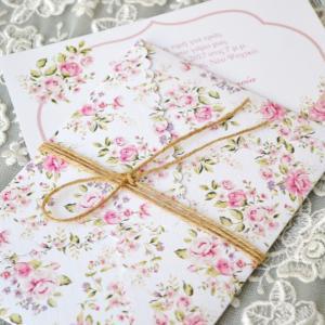 Προσκλητήρια γάμου φλοράλ -Γ1717 - <p>Μοναδικό floral προσκλητήριο γάμου με ιδιαίτερο δέσιμο !</p>...