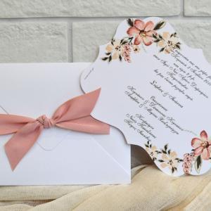 Προσκλητήρια γάμου ρομαντικά -Γ1733 - <p>Φινετσάτο προσκλητήριο γάμου, με ιδιαίτερο δέσιμο στον φάκελο από σατέν κορδέλα!</p>...