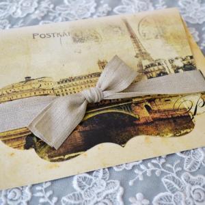 Προσκλητήρια γάμου ρομαντικά -Γ1739 - <p>Ρομαντικό προσκλητήριο γάμου με θέμα το Παρίσι ,με ιδιαίτερο δέσιμο από λινή κορδέλα...</p>...