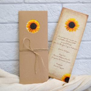 Προσκλητήρια γάμου 2017 -Γ1748 - <p>Συρταρωτό προσκλητήριο γάμου από οικολογικό χαρτί , με θέμα τους ηλίανθους!</p>...