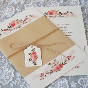 Προσκλητήρια γάμου ρομαντικά -Γ1760 - <p>Μοναδικό προσκλητήριο γάμου σε ρομαντικό ύφος , ιδιαίτερο δέσιμο και καρτελάκι με λουλούδια για το όνομα των καλεσμένων!</p>...