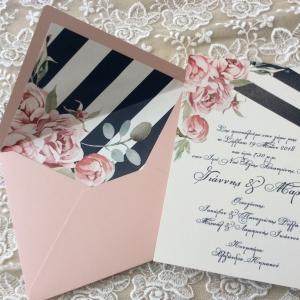 Προσκλητήρια γάμου 2018 -Γ1811 - <p>Ρομαντικό προσκλητήριο φλοράλ, με φόδρα!</p>...