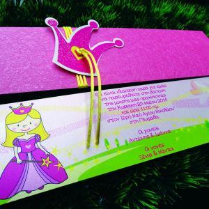 Προσκλητήριο Βάπτισης -B1430 - <p>Μακρόστενο προσκλητήριο βάπτισης με θέμα την πριγκίπισσα, φάκελος από δερματίνη nature rose, εντυπωσιακό αξεσουάρ από κορώνα γκλίτερ!</p>...