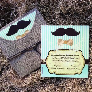 Προσκλητήρια βάπτισης μουστάκι -B1616 - <p>Μοναδικό προσκλητήριο βάπτισης για αγόρι με θέμα το μουστάκι σε συρταρωτό φάκελο από λινάτσα!</p>...
