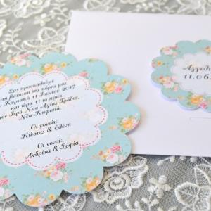 Προσκλητήρια βάπτισης 2017 -Β1754 - <p>Προσκλητήριο βάπτισης, φλοράλ ροζέτα σε τόνους βεραμάν με λουλούδια!</p>...